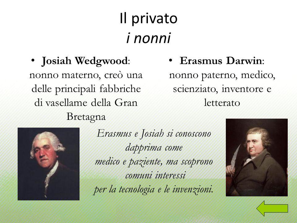 Il privato i nonni Josiah Wedgwood: nonno materno, creò una delle principali fabbriche di vasellame della Gran Bretagna.