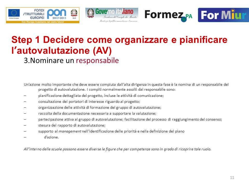 Step 1 Decidere come organizzare e pianificare l'autovalutazione (AV)