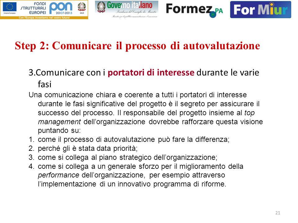 Step 2: Comunicare il processo di autovalutazione