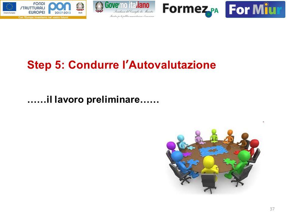 Step 5: Condurre l'Autovalutazione ……il lavoro preliminare……