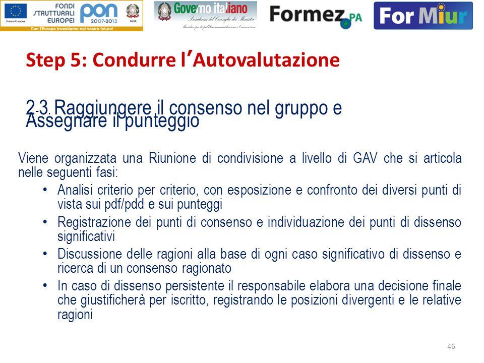 Step 5: Condurre l'Autovalutazione 2-3