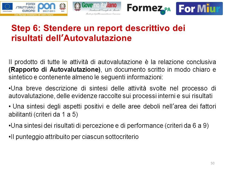 Step 6: Stendere un report descrittivo dei risultati dell'Autovalutazione