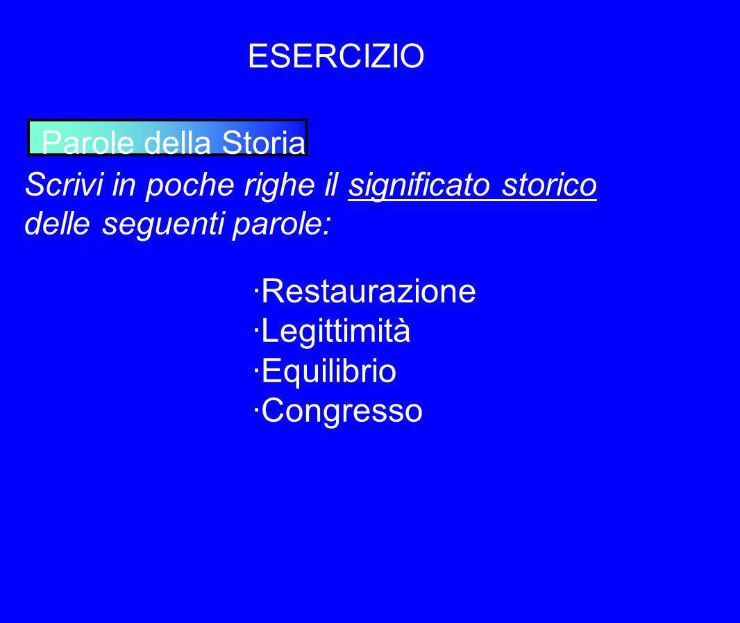 ESERCIZIO ·Restaurazione ·Legittimità ·Equilibrio ·Congresso