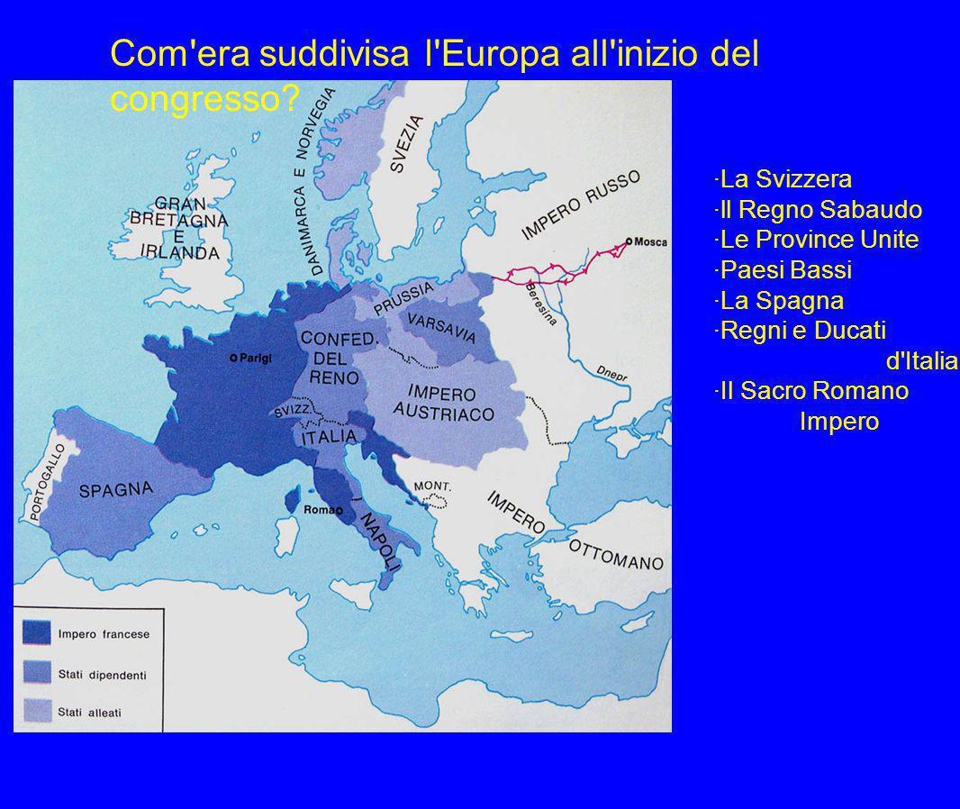 Com era suddivisa l Europa all inizio del congresso