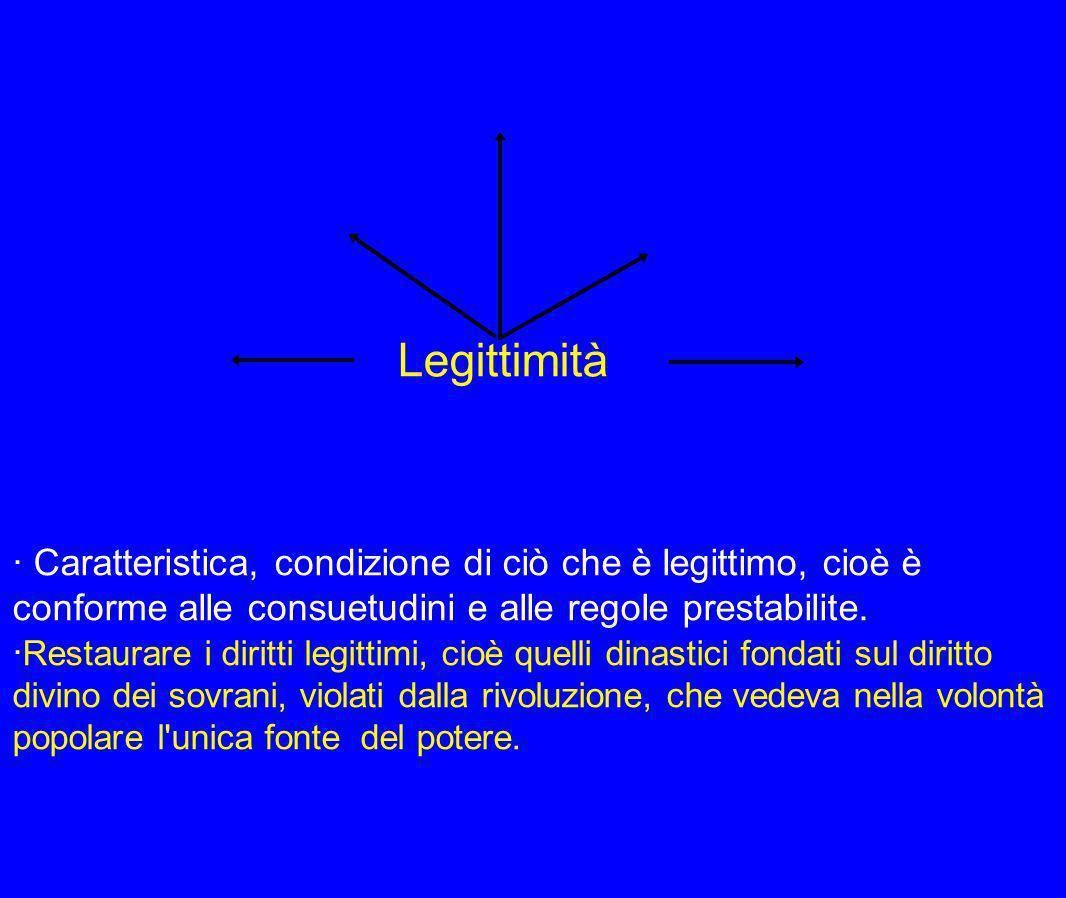Legittimità · Caratteristica, condizione di ciò che è legittimo, cioè è conforme alle consuetudini e alle regole prestabilite.
