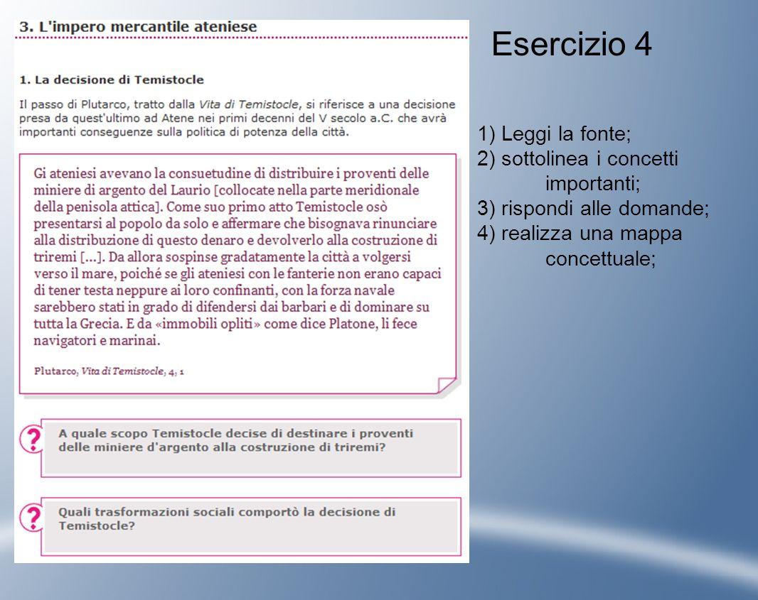 Esercizio 4 1) Leggi la fonte; 2) sottolinea i concetti importanti;