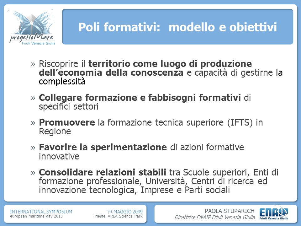 Poli formativi: modello e obiettivi