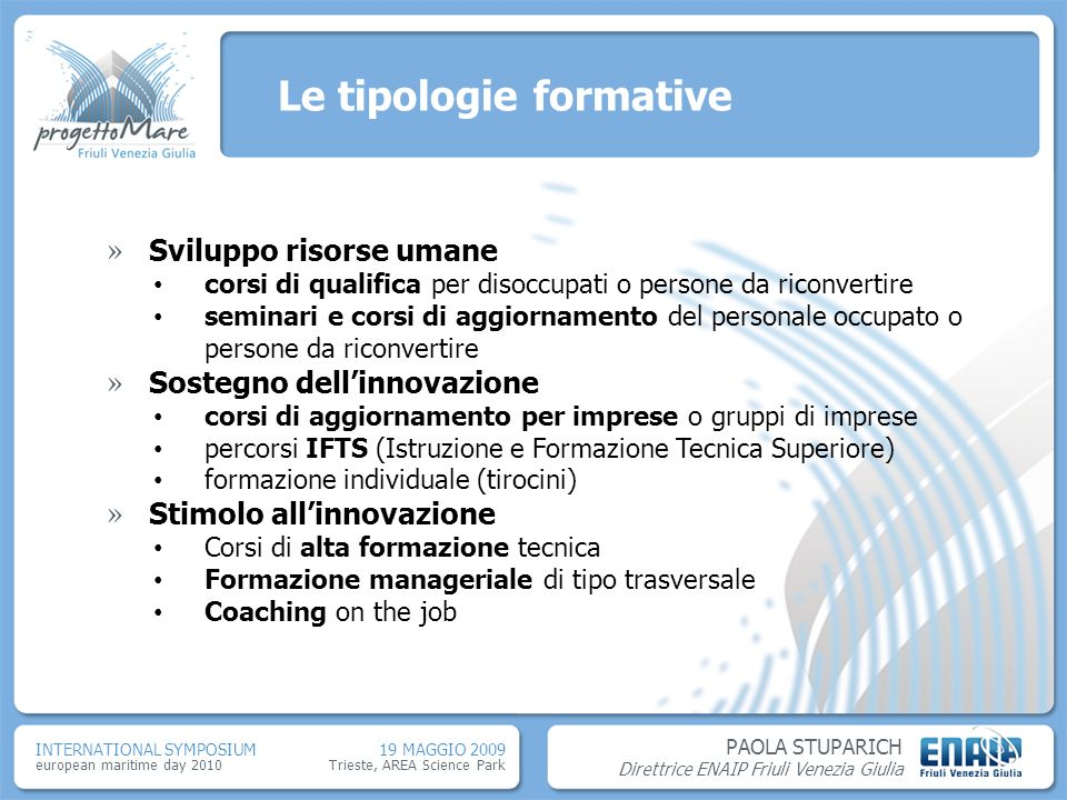 Le tipologie formative