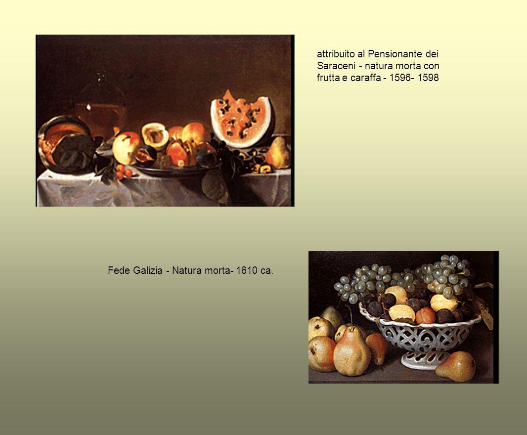 attribuito al Pensionante dei Saraceni - natura morta con frutta e caraffa - 1596- 1598