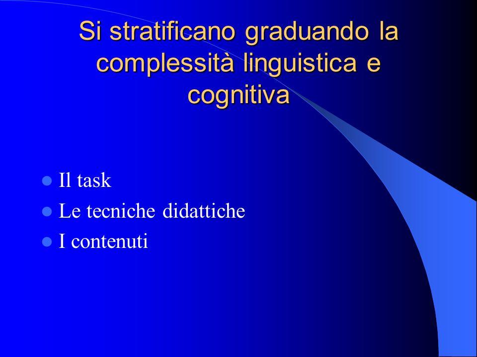 Si stratificano graduando la complessità linguistica e cognitiva