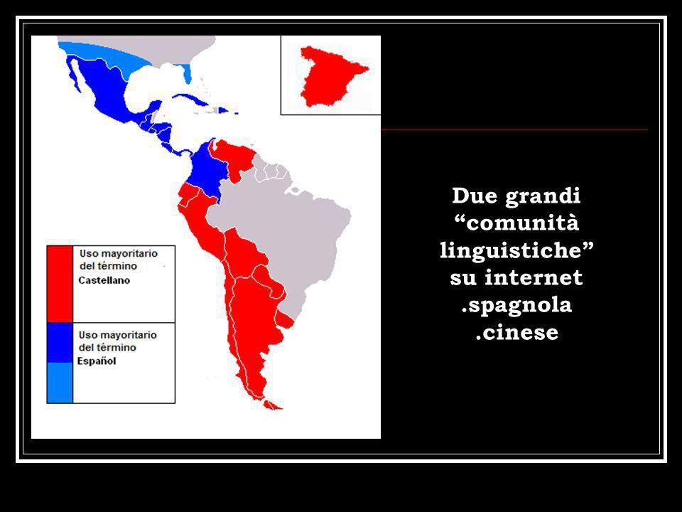 Due grandi comunità linguistiche su internet .spagnola .cinese
