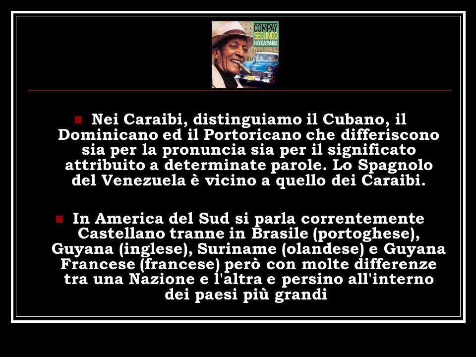 Nei Caraibi, distinguiamo il Cubano, il Dominicano ed il Portoricano che differiscono sia per la pronuncia sia per il significato attribuito a determinate parole. Lo Spagnolo del Venezuela è vicino a quello dei Caraibi.