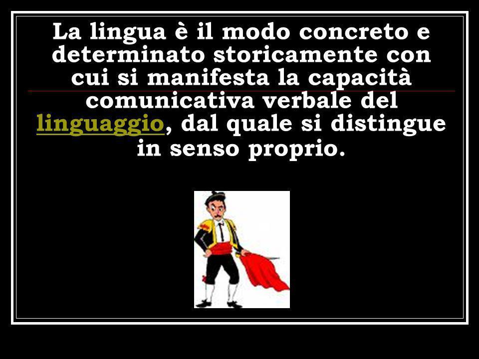 La lingua è il modo concreto e determinato storicamente con cui si manifesta la capacità comunicativa verbale del linguaggio, dal quale si distingue in senso proprio.