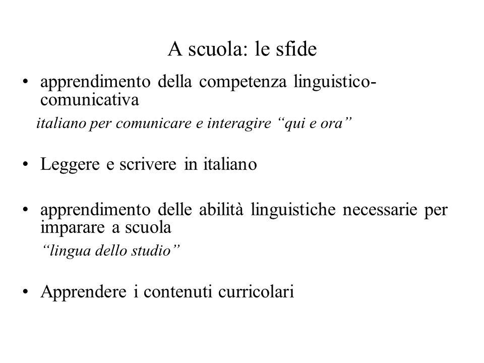A scuola: le sfide apprendimento della competenza linguistico-comunicativa. italiano per comunicare e interagire qui e ora