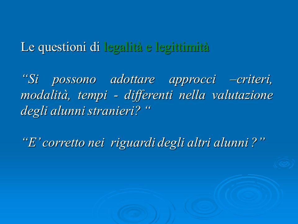 Le questioni di legalità e legittimità