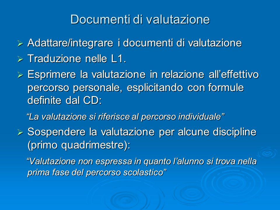 Documenti di valutazione