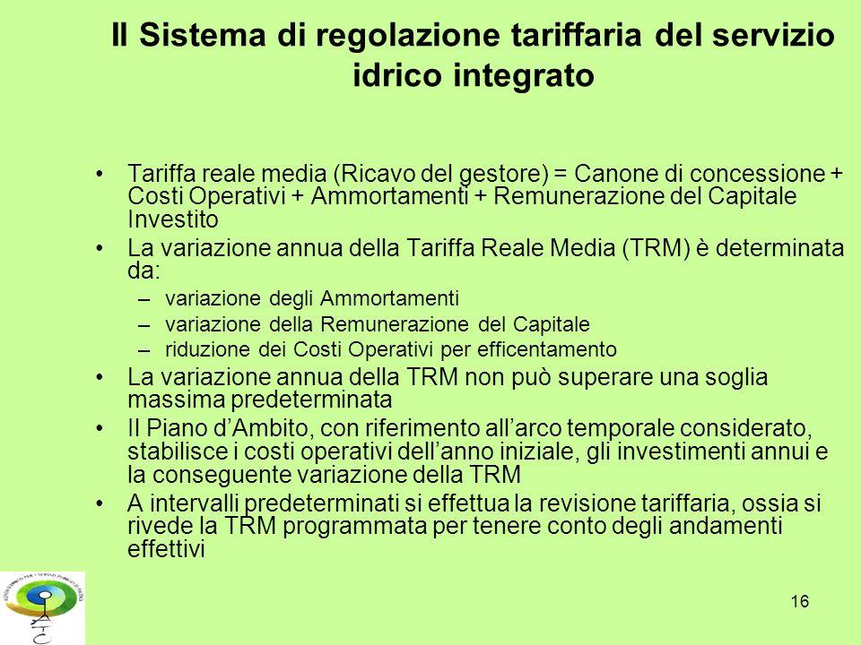 Il Sistema di regolazione tariffaria del servizio idrico integrato