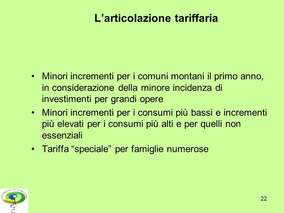 L'articolazione tariffaria