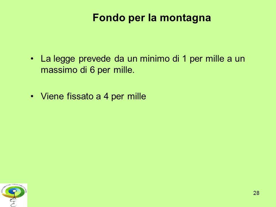 Fondo per la montagna La legge prevede da un minimo di 1 per mille a un massimo di 6 per mille.