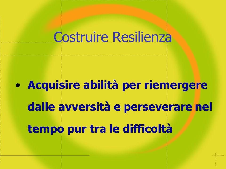 Costruire Resilienza Acquisire abilità per riemergere dalle avversità e perseverare nel tempo pur tra le difficoltà.