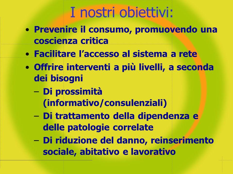 I nostri obiettivi: Prevenire il consumo, promuovendo una coscienza critica. Facilitare l'accesso al sistema a rete.