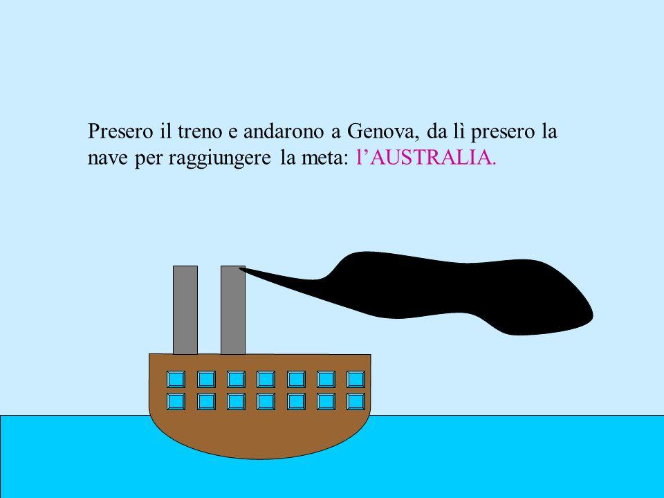 Presero il treno e andarono a Genova, da lì presero la nave per raggiungere la meta: l'AUSTRALIA.