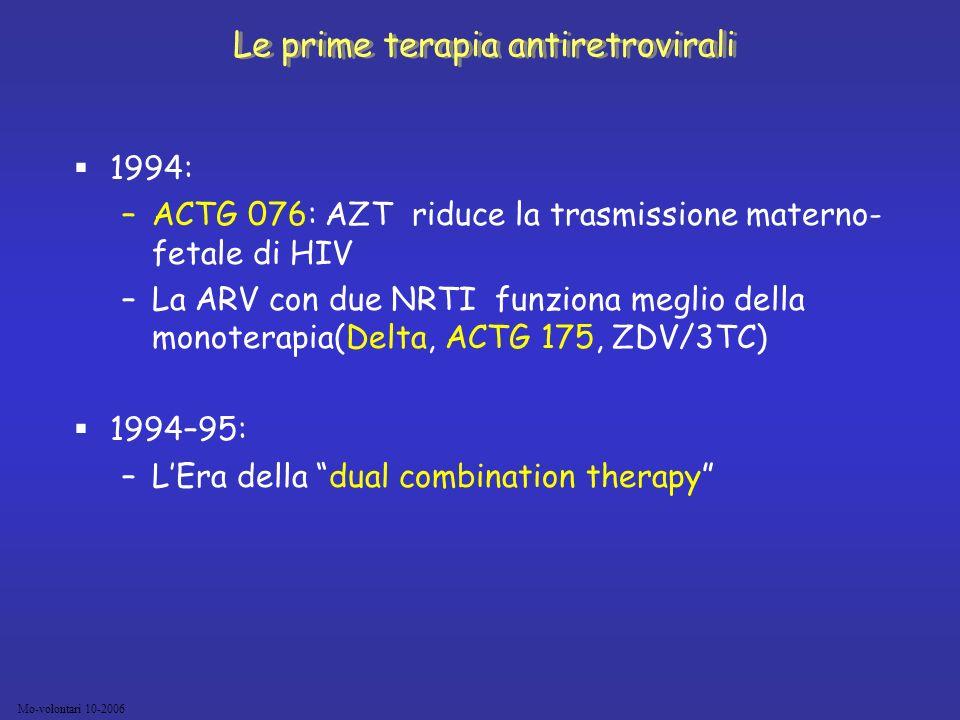 Le prime terapia antiretrovirali