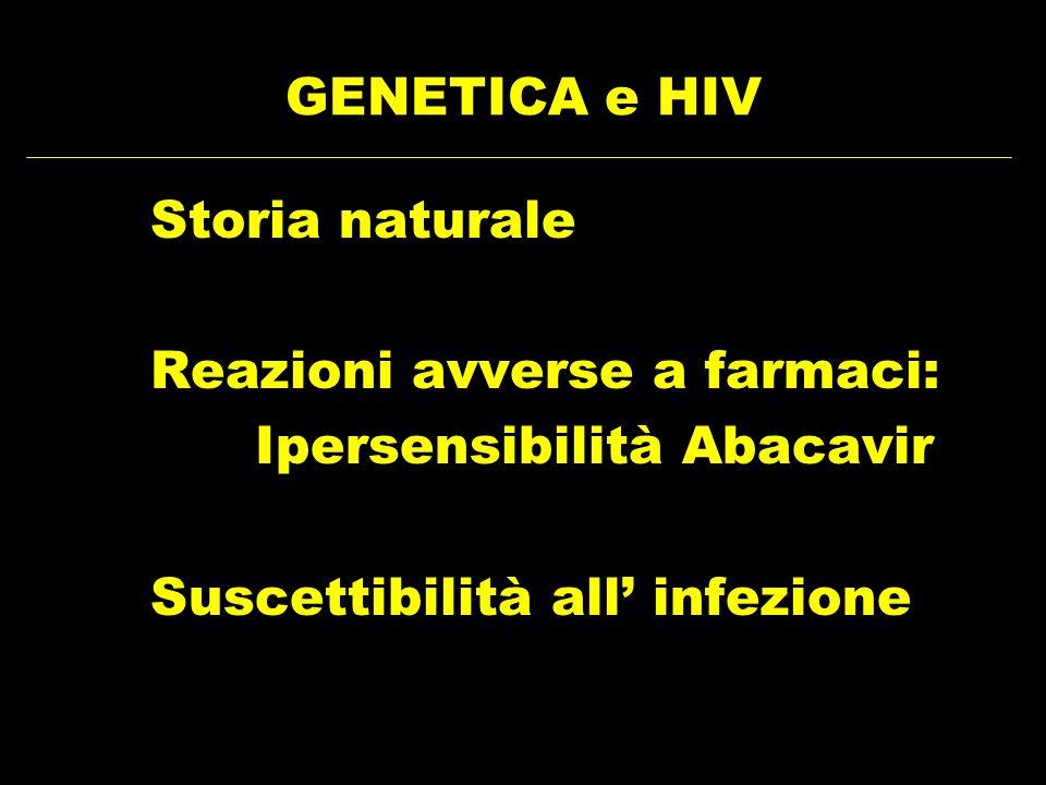 GENETICA e HIV Storia naturale. Reazioni avverse a farmaci: Ipersensibilità Abacavir.
