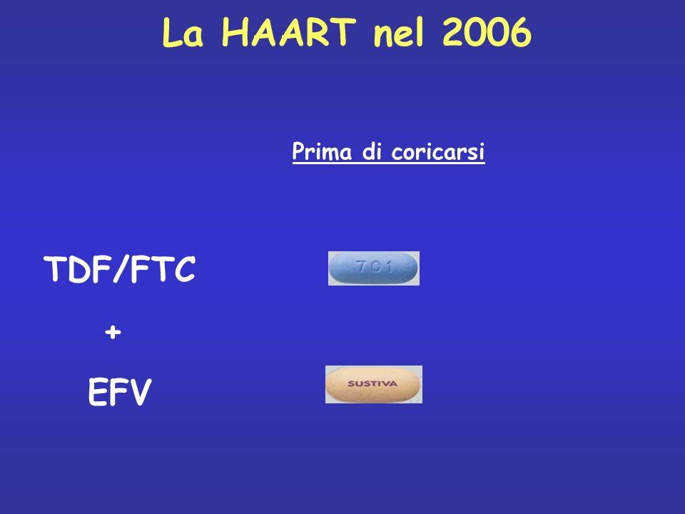La HAART nel 2006 TDF/FTC + EFV Prima di coricarsi