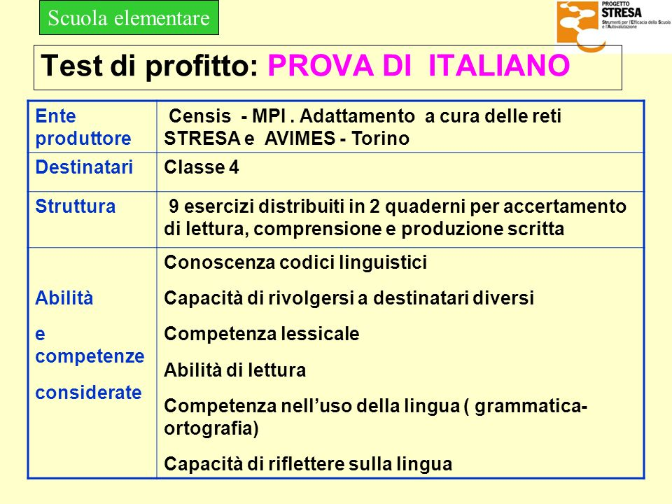 Test di profitto: PROVA DI ITALIANO