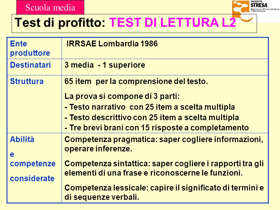Test di profitto: TEST DI LETTURA L2