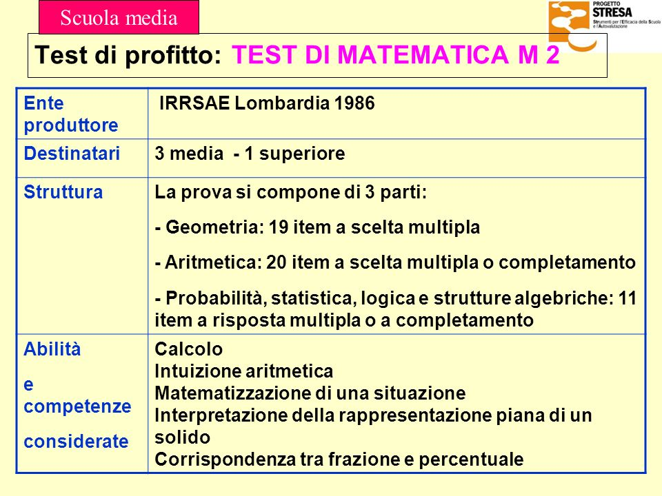 Test di profitto: TEST DI MATEMATICA M 2