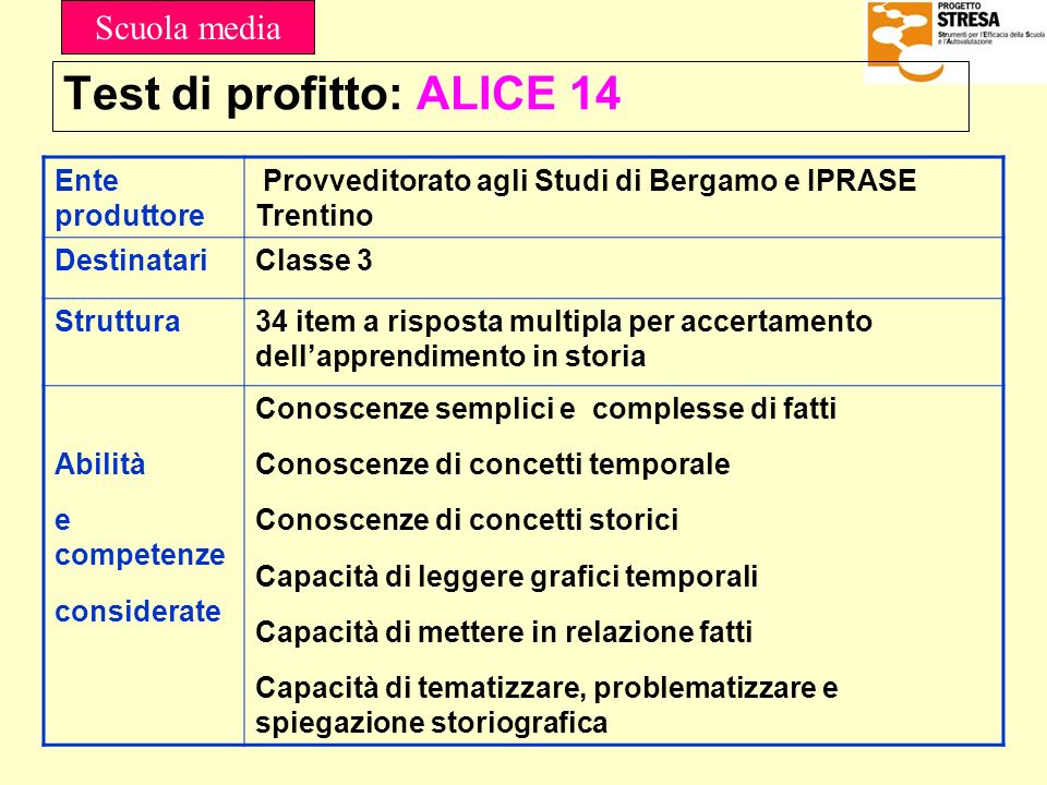 Test di profitto: ALICE 14