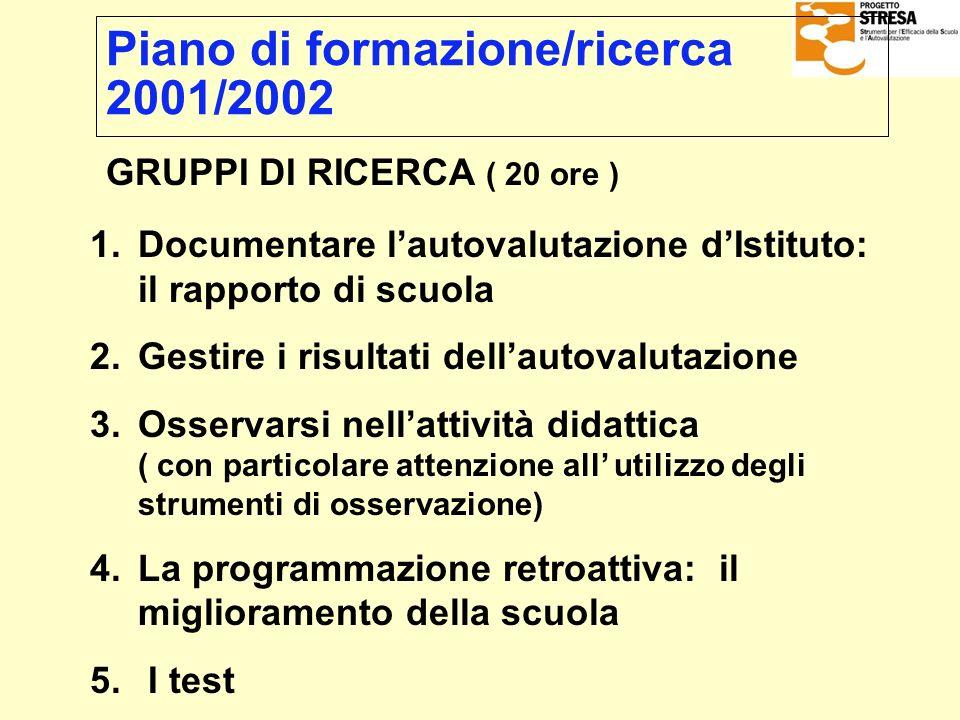 Piano di formazione/ricerca 2001/2002