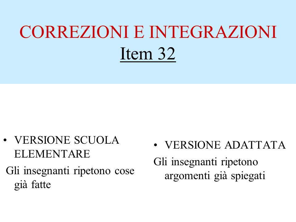 CORREZIONI E INTEGRAZIONI Item 32