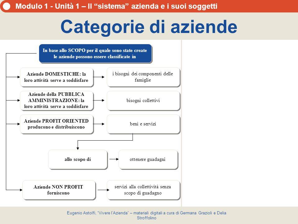 Categorie di aziende In base allo SCOPO per il quale sono state create le aziende possono essere classificate in.