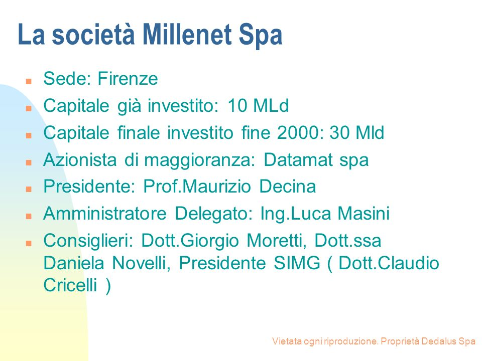 La società Millenet Spa