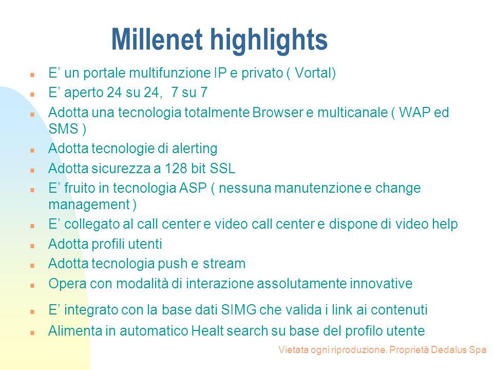 Millenet highlights E' un portale multifunzione IP e privato ( Vortal)