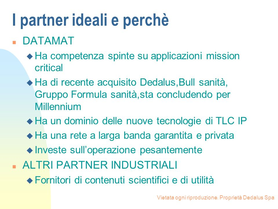 I partner ideali e perchè