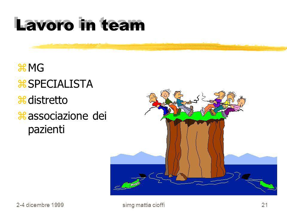 Lavoro in team MG SPECIALISTA distretto associazione dei pazienti