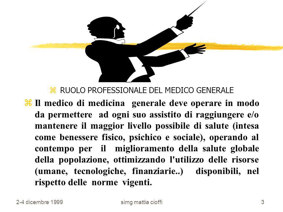 RUOLO PROFESSIONALE DEL MEDICO GENERALE