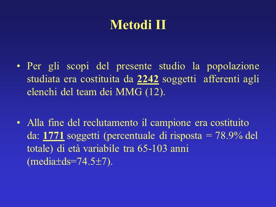 Metodi II Per gli scopi del presente studio la popolazione studiata era costituita da 2242 soggetti afferenti agli elenchi del team dei MMG (12).