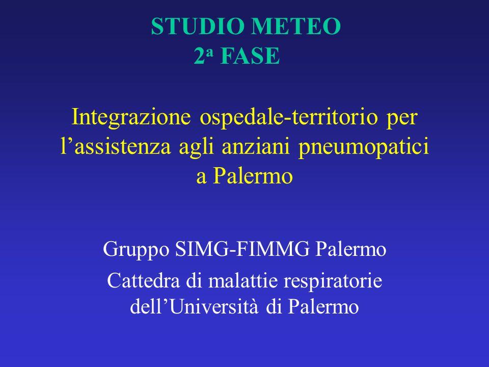STUDIO METEO 2a FASE. Integrazione ospedale-territorio per l'assistenza agli anziani pneumopatici a Palermo.