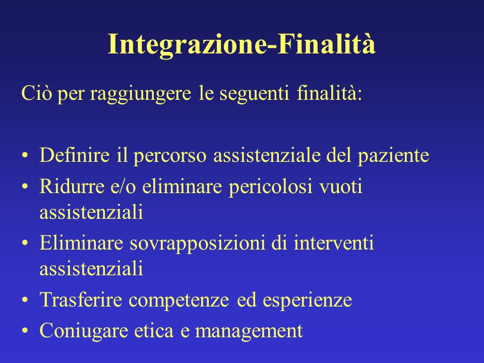 Integrazione-Finalità