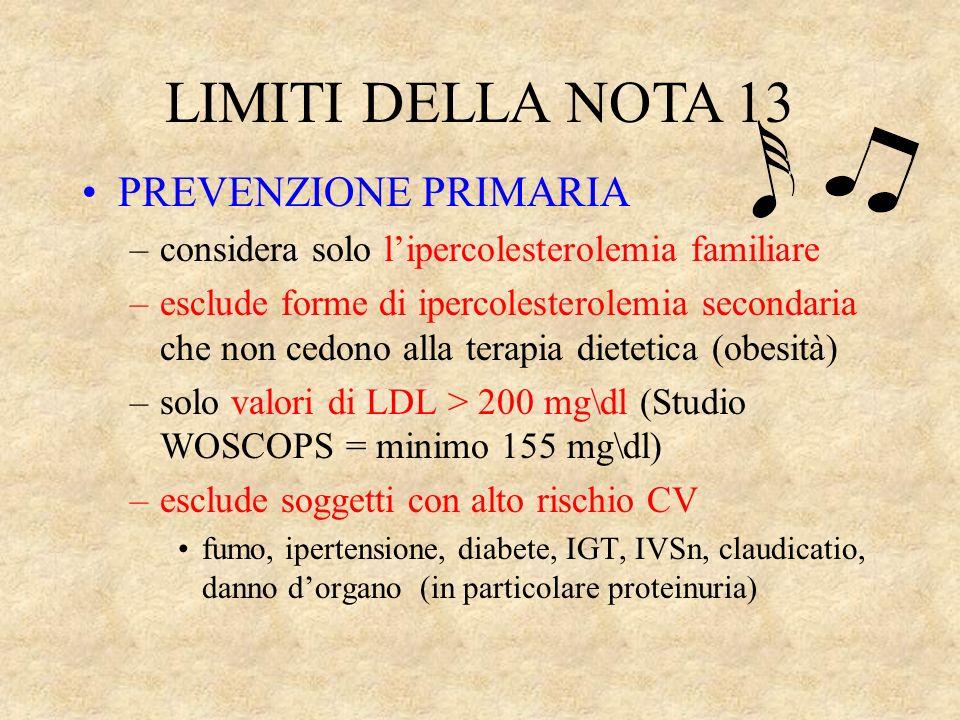 LIMITI DELLA NOTA 13 PREVENZIONE PRIMARIA