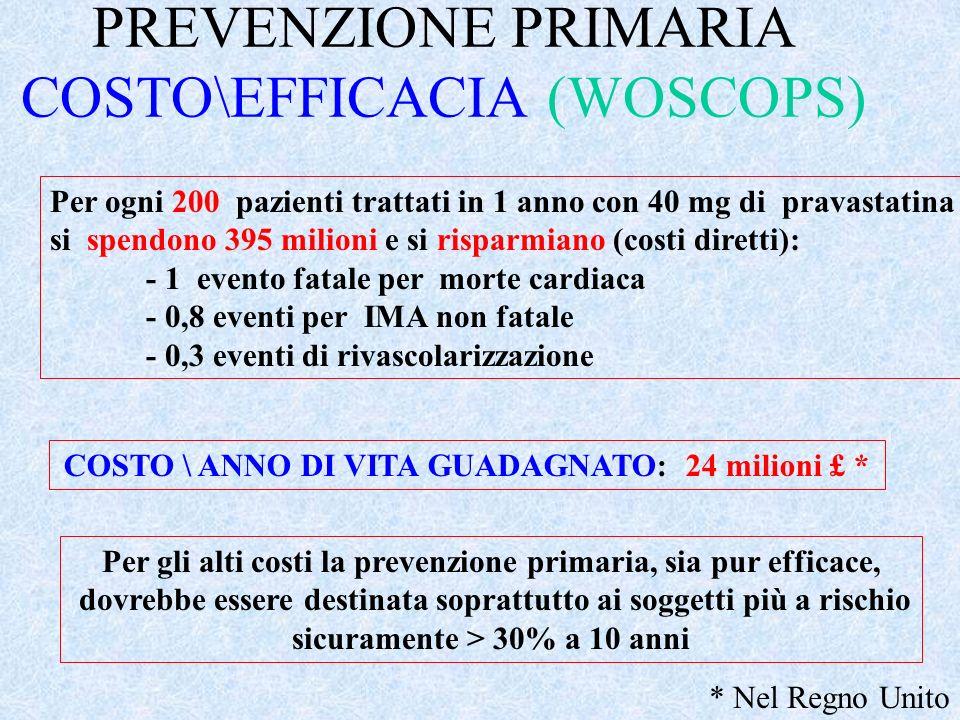 PREVENZIONE PRIMARIA COSTO\EFFICACIA (WOSCOPS)