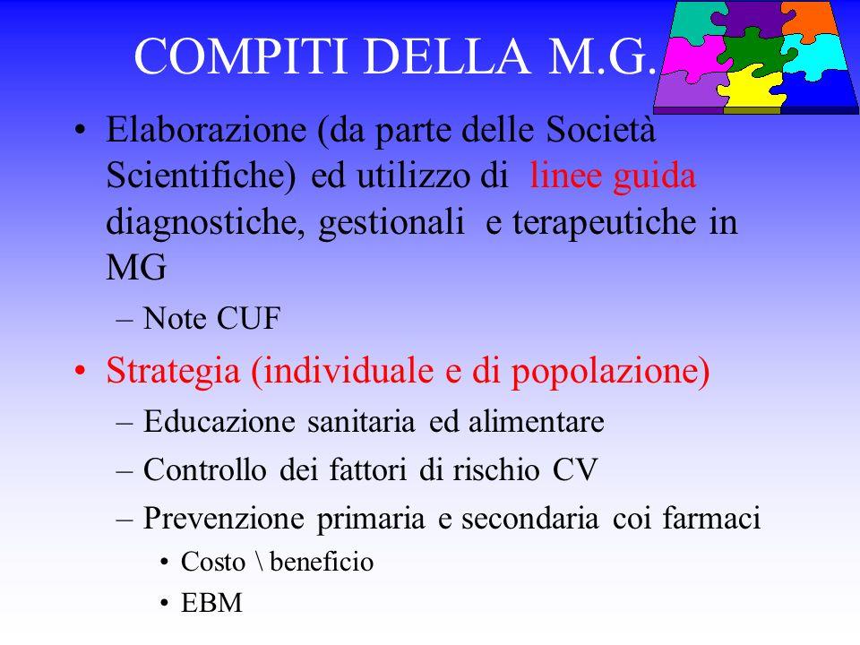 COMPITI DELLA M.G...... Elaborazione (da parte delle Società Scientifiche) ed utilizzo di linee guida diagnostiche, gestionali e terapeutiche in MG.