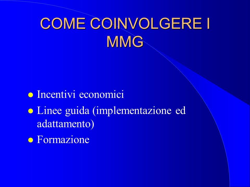 COME COINVOLGERE I MMG Incentivi economici