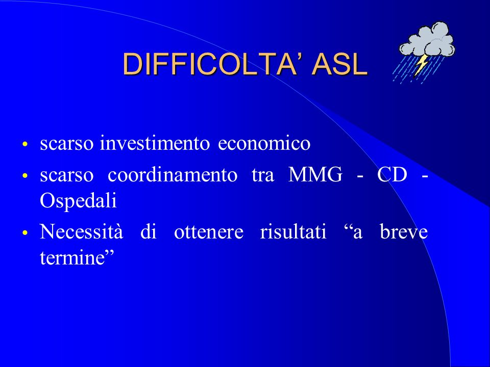 DIFFICOLTA' ASL scarso investimento economico