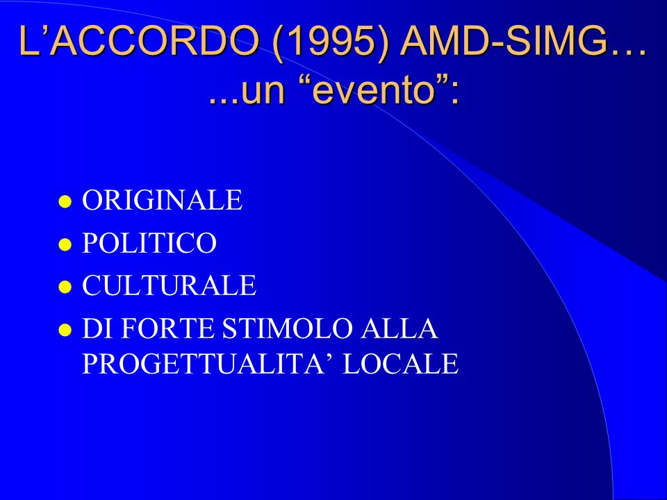 L'ACCORDO (1995) AMD-SIMG… ...un evento :
